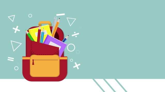 vidéos et rushes de l'animation mignonne du livre, du cahier, de la règle, des crayons et des crayons dans le sac à dos rouge ont se tortiller sur le fond bleu avec votre espace de copie. concept de retour à l'école pour des séquences de dessins animés vidéo. - fournitures scolaires