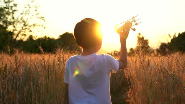 かわいいアジアの子供は夕日に水田でおもちゃの飛行機を再生します。 - 水田点の映像素材/bロール