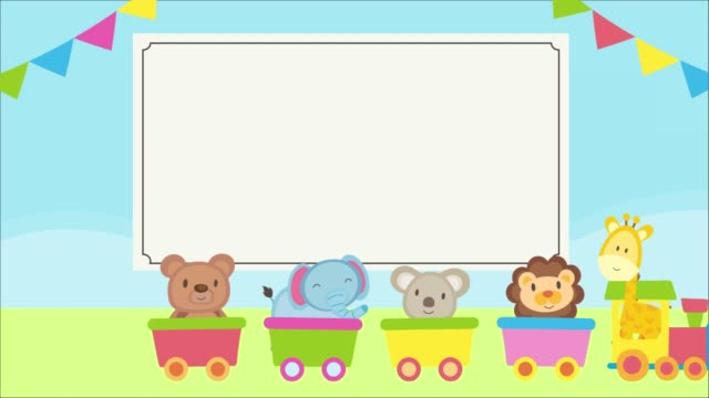 vídeos y material grabado en eventos de stock de lindos animales bebés en un tren rodante con marco rectangular, lobo, oso y zorro. plantilla, estandarte para baby shower. - baby shower