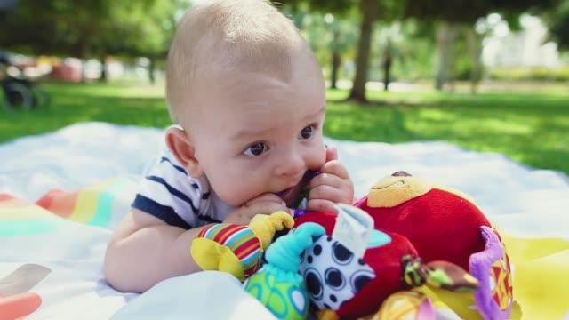 stockvideo's en b-roll-footage met schattige baby jongen met toy-rammelaar op kleurrijke speelmat in het park. adorable kind spelen met een kinderspeelgoed. - baby toy