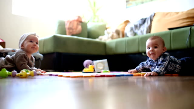 Cute Baby Girl Crawling In Living Room video
