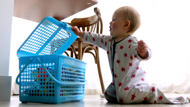 Cute baby opening toy box