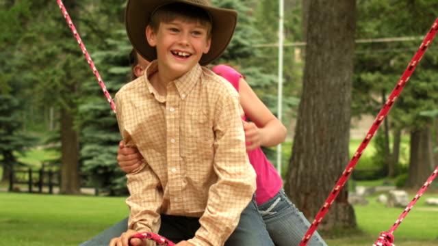 Cute boy and girl having fun