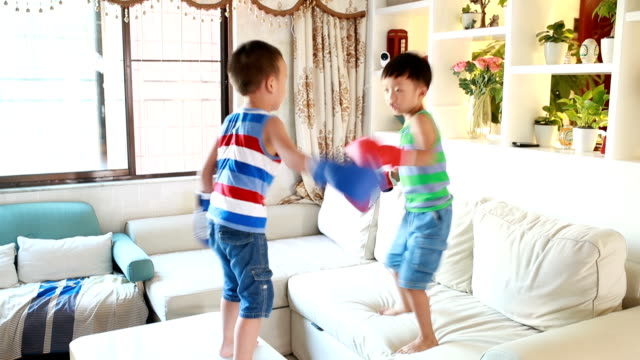 cute boy boxing - brother stock videos and b-roll footage