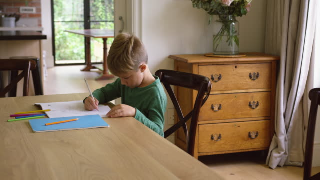 Cute boy doing homework at dining table in a comfortable home 4k