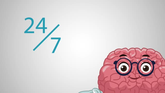 Cute brain cartoon HD animation cute brain working twentyfour hours cartoon, High Definition animation colorful scene cerebellum stock videos & royalty-free footage