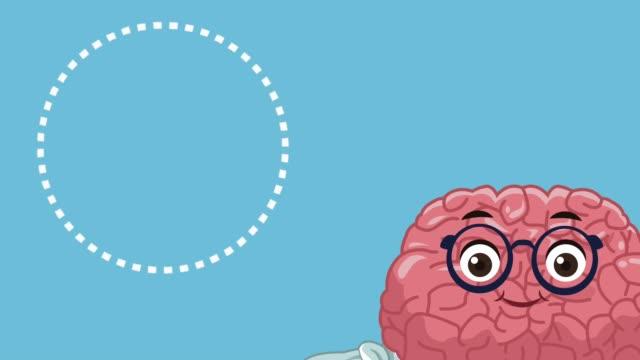 Cute brain cartoon HD animation Cute brain mental health cartoon High Definition animation colorful scene cerebellum stock videos & royalty-free footage