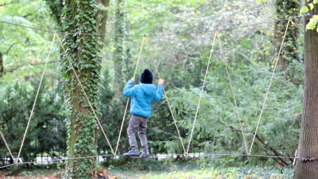 Cute child, boy, climbing in a rope playground structure, springtime video