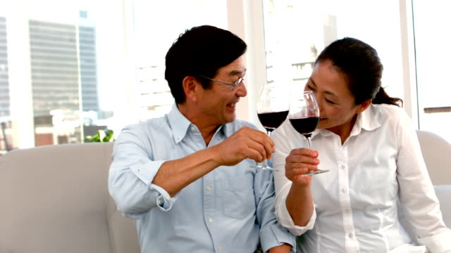Cute couple on date holding red wine glasses video
