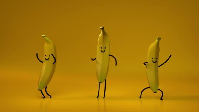 かわいいダンスバナナシームレスループ3dレンダーアニメーション - バナナ点の映像素材/bロール