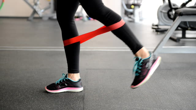 cute fit girl performing leg exercises video