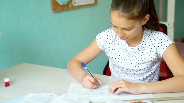 cute girl doing algebra homework video