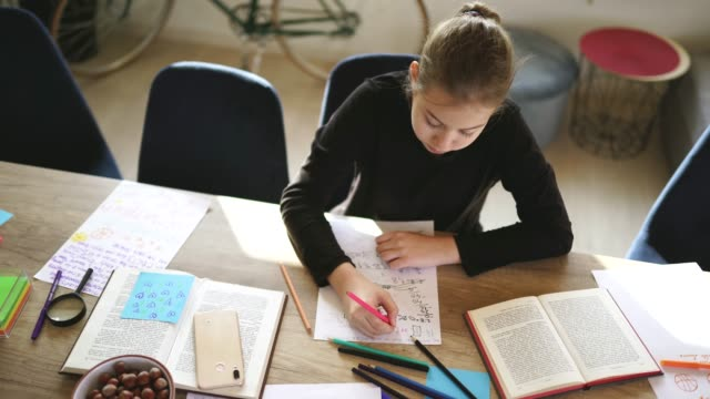 cute girl doing homework alone at home - school supplies stock videos and b-roll footage