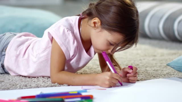 Cute Girl Drawing a Picture video
