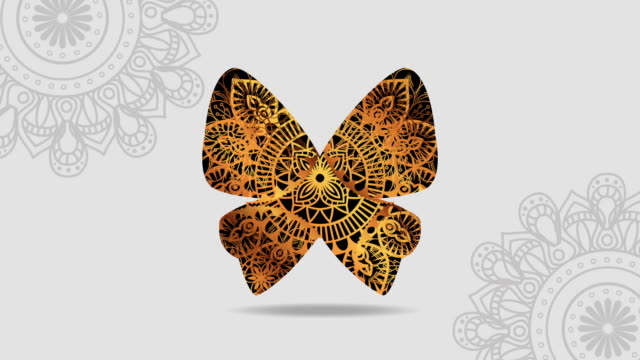 cute golden butterfly with boho style
