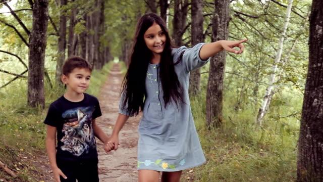 かわいい幸せの弟と妹は日当たりの良い夏の天候で笑みを浮かべて手を繋いで歩いています。 - 兄弟点の映像素材/bロール
