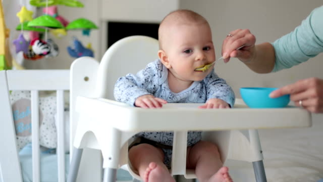 Video Cute little baby boy, eating mashed vegetables for lunch, mom feeding him, sweet toddler boy, smiling