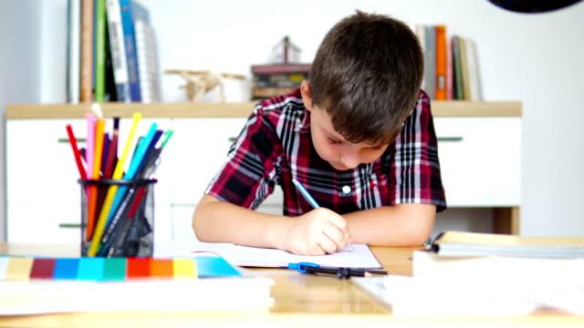 cute little boy doing his homework - solo un bambino maschio video stock e b–roll