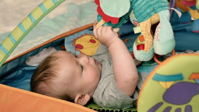 vídeos de stock, filmes e b-roll de menino bonitinho estabelece no tenda das crianças e brincar com brinquedos macios - comodidades para lazer