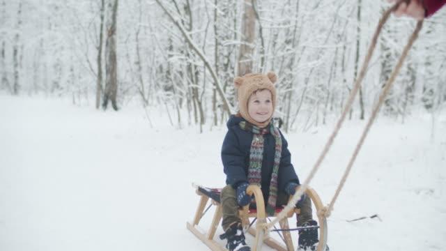 可愛的小男孩騎雪橇在冬季公園拉由他的父親 - 休閒器具 個影片檔及 b 捲影像