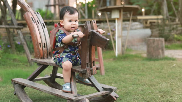 Cute little boy swings on the rocking horse