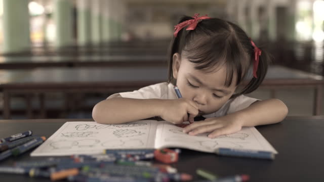 Cute Little Girl Draws With Crayons Cute Little Girl Draws With Crayons thai ethnicity stock videos & royalty-free footage