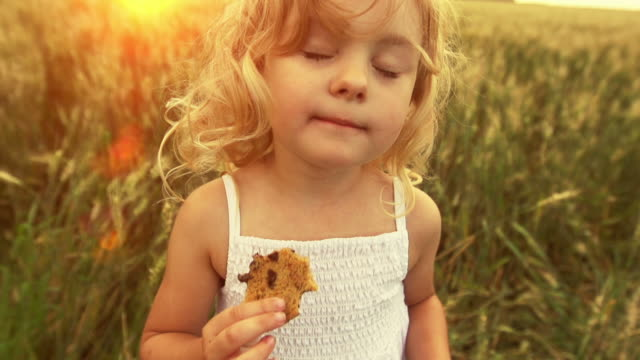 Cute little girl eats a cookie Cute little girl in a wheat field eats a cookie.  She is enjoying herself as the sun is setting.  The feeling this clip portray are freedom, joy, happiness, and vitality.   The prairies are a great place for a kid to grow up. cookie stock videos & royalty-free footage