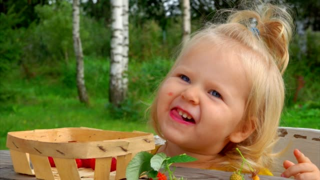 A cute little girl eats raspberries from her fingers and laughs outdoors