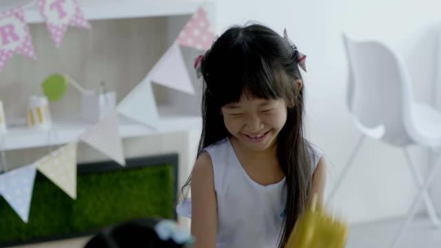 Cute little girl having fun Asian kid happy princess stock videos & royalty-free footage