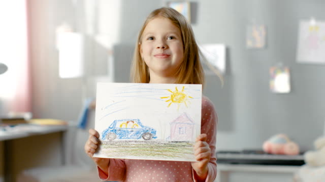 Cute Little Girl in Her Room Shows Drawing of Her Family in a Car. video