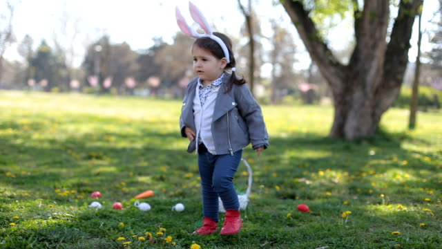 Cute little girl with bunny ears video