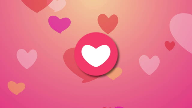 Cute love heart valentine, wedding, greeting cards - Loop background.