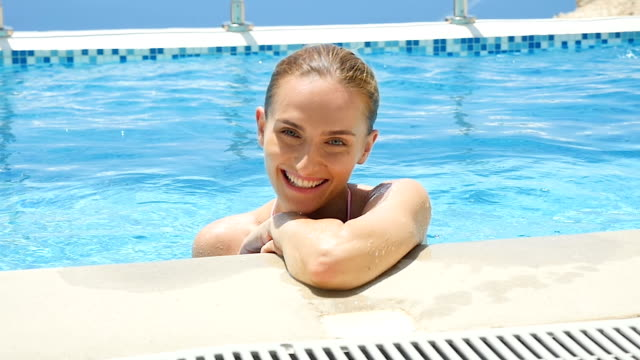 Cute & lovely woman at pool video