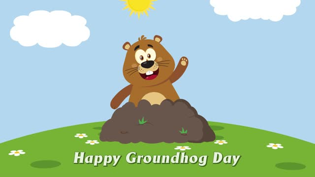 Cute Marmot Cartoon Mascot Character Waving In Groundhog Day Cute Marmot Cartoon Mascot Character Waving In Groundhog Day. 4K Animation Video Motion Graphics With Background groundhog day stock videos & royalty-free footage