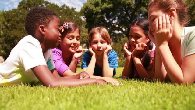 Cute pupils lying on the grass with hands together video