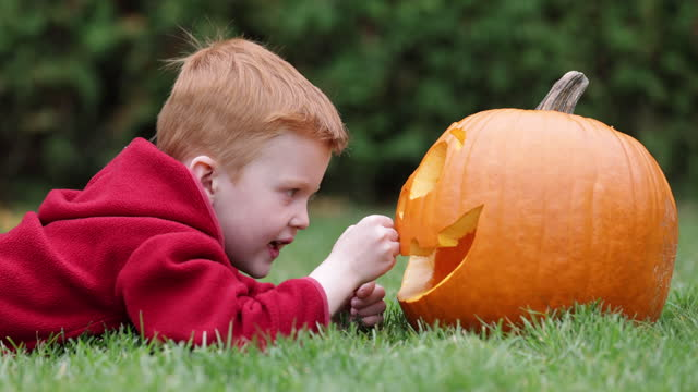 Cute redhead boy looking a Jack O' Lantern while lying down on grass