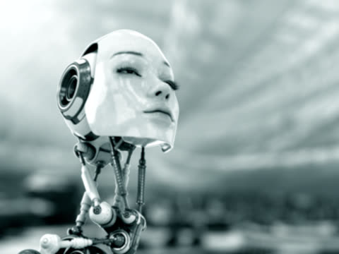 Cute robotic woman looks on world video