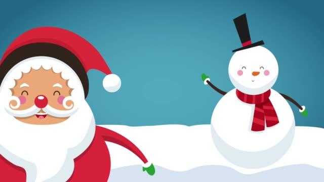かわいいサンタクロース漫画hdアニメーション - サンタの帽子点の映像素材/bロール
