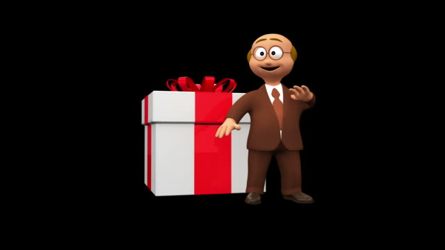 Cute Senior 3D Character Gives Present video