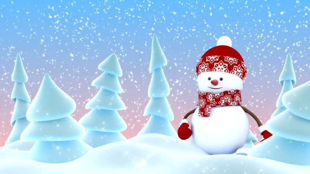 Cute Snowman in Red Cap Greeting with Hand and Smiling in Winter Forest Snowfall. Beautiful 3d Cartoon Animation. Animated Greeting Card. Merry Christmas Happy New Year Concept. Cute Snowman in Red Cap Greeting with Hand and Smiling in Winter Forest Snowfall. Beautiful 3d Cartoon Animation. Animated Greeting Card. Merry Christmas Happy New Year Concept. 4k Ultra HD 3840x2160. snowman stock videos & royalty-free footage