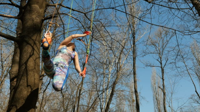 Cute woman doing aerogravity exercises on ropes outdoors Young woman practicing aerogravity in the park. The woman makes physical exercises on the ropes on tree. Flexible female hanging on the ropes and stretching her body and muscles. She's moving slowly and accuracy. arthropod stock videos & royalty-free footage