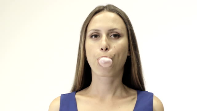 Cute young girl chews gum video