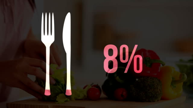 cutlery icon and increasing percent in pink with chef preparing a dish - icona posate video stock e b–roll