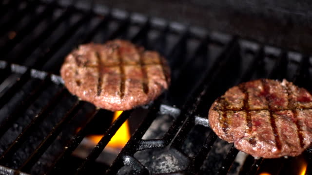 Cutlets from minced meat roasted on the grill-3 video