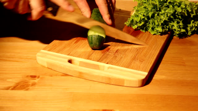Cutting a cucumber video
