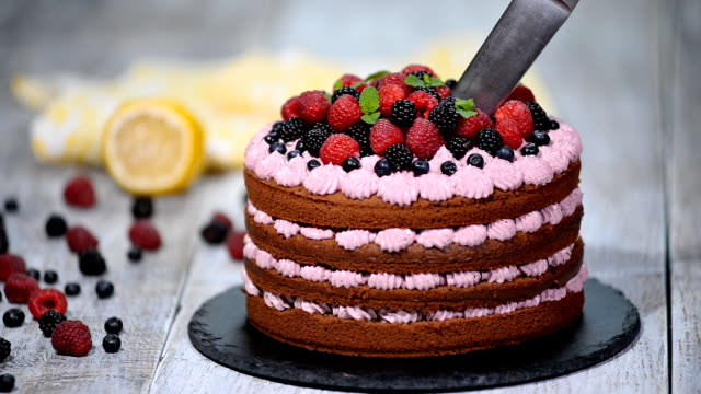 Cutting Beautiful Chocolate Cake With Fresh Berry Stock Video More