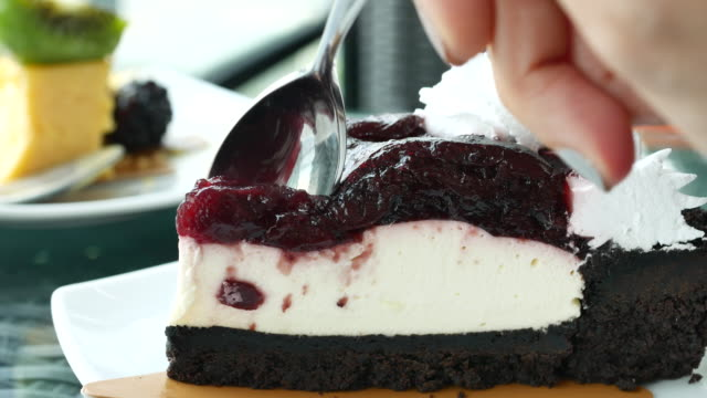 Cutting blueberry Cheesecake video