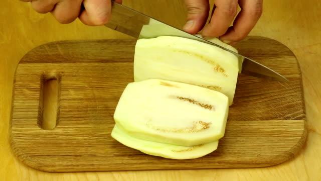 Cutting eggplant video