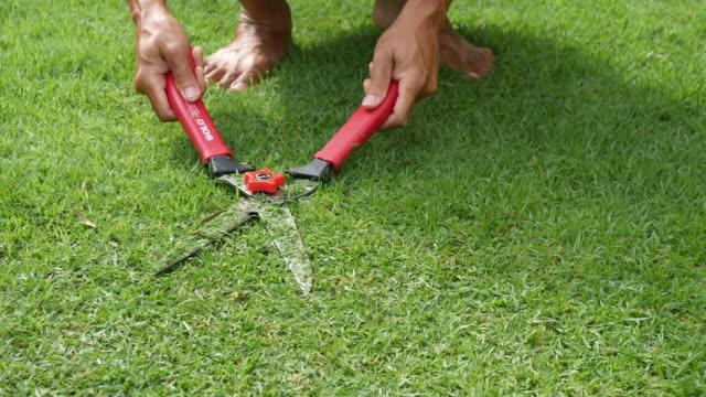 makas ile kesme çim - bahçe ekipmanları stok videoları ve detay görüntü çekimi