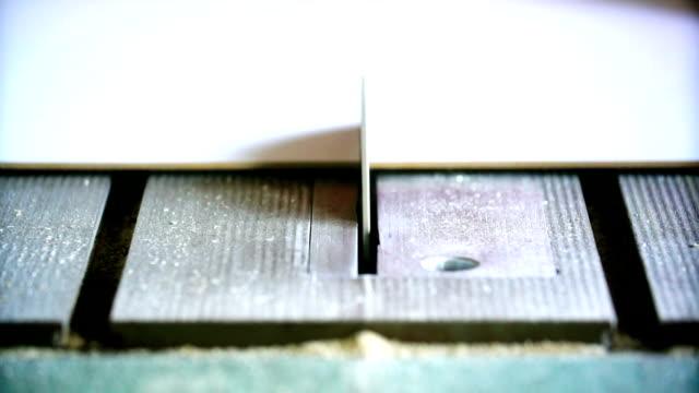 Cutting plywood on a circular saw machine. video